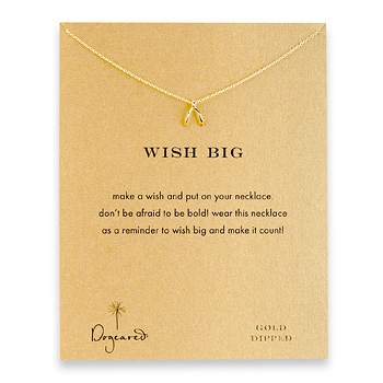 wish big gold dipped wishbone reminder necklace