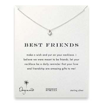 best friends cupid heart necklace, sterling silver