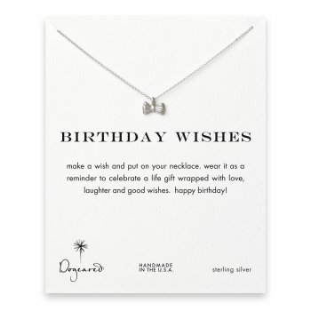 birthday wishes ribbon bow necklace, sterling silver