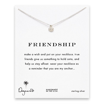friendship smooth anchor necklace, sterling silver