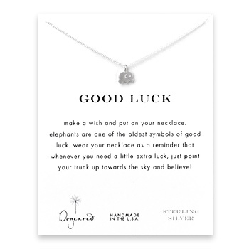 good luck elephant necklace, sterling silver