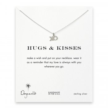 hugs & kisses XO necklace, sterling silver