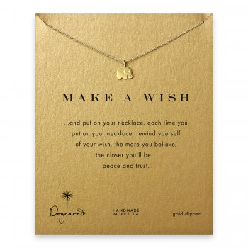 make a wish elephant necklace, gold dipped
