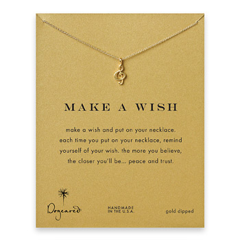 make a wish treble clef gold dipped reminder necklace