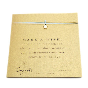 make a wish necklace with gold dipped teeny star on mint