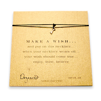 make a wish necklace with gold dipped key on black