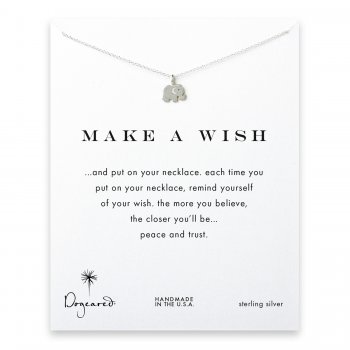 make a wish elephant necklace, sterling silver