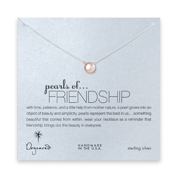 large pearls of friendship pink pearl necklace, sterling silver - 18 inch