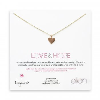 love & hope heart necklace, rose gold dipped