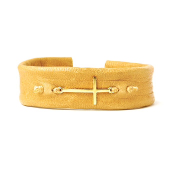sideways cross cuff bracelet on camel leather, gold dipped