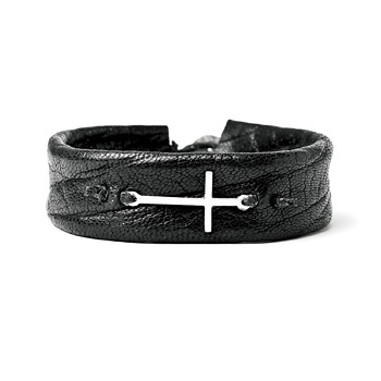 sideways+cross+cuff+bracelet+on+navy+leather%2C+sterling+silver