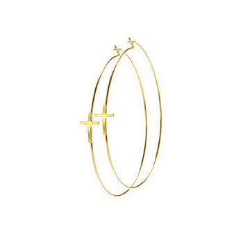 hoop+cross+earrings%2C+gold+dipped