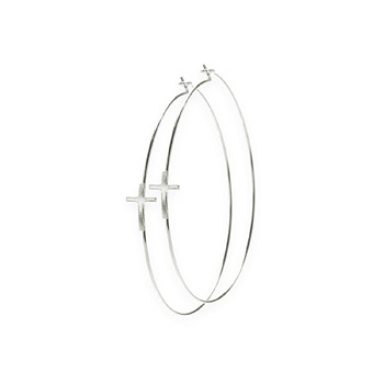 hoop cross earrings, sterling silver
