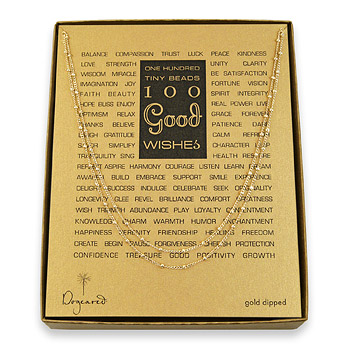 100+good+wishes+beaded+necklace%2C+gold+dipped