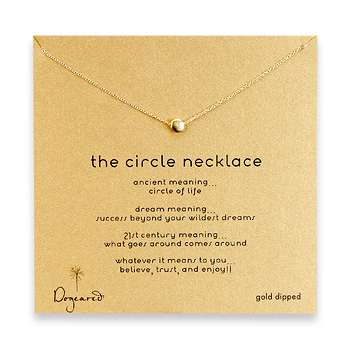 circle necklace, gold dipped
