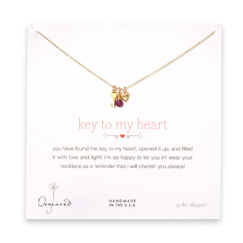 gold dipped key to my heart necklace with heart key, stone heart and garnet bead