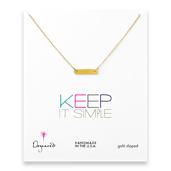 keep it simple gold dipped bar necklace