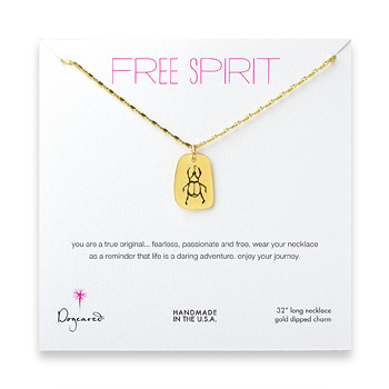 free spirit gold dipped scarab necklace - 32 inches