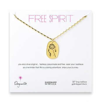 free+spirit+gold+dipped+dream+catcher+necklace+-+32+inches