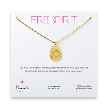 free spirit gold dipped elephant necklace - 32 inches