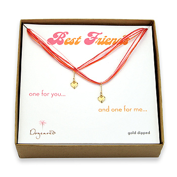 best friends gold dipped cupid hearts on red silk set of 2 necklaces - 18 inch