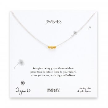 3 wishes gold dipped stardust bead necklace on sterling silver chain