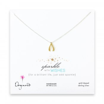 sparkle+wishbone+necklace+with+gold+dipped+charm+on+sterling+silver+chain