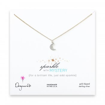 sparkle moon necklace with sterling silver charm on gold dipped chain