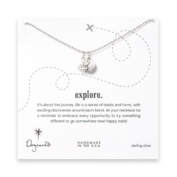 sterling silver explore necklace with compass and oxidized world charm