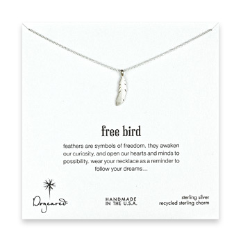 free bird sterling silver feather necklace