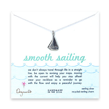 sterling silver smooth sailings necklace with sailboat necklace