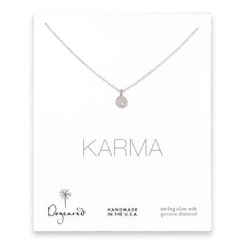 karma diamond necklace, sterling silver