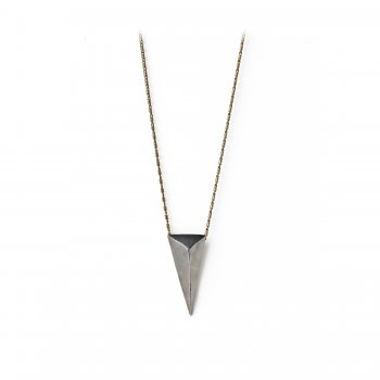 charmed necklace, large charcoal silver pyramid on brass chain