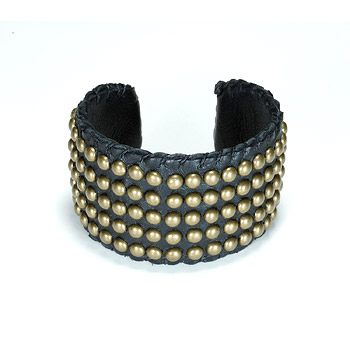 100 good wishes studded black cuff : Dogeared Jewels and Gifts :  leather bracelets brass beads cuff bracelets irish linen