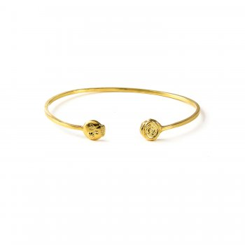 charmed flower skull and rose cuff bracelet, gold dipped