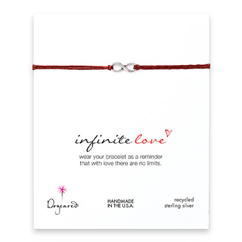 small+infinite+love+bracelet+on+red+irish+linen%2C+sterling+silver
