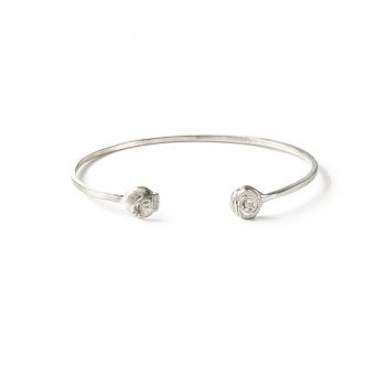 charmed flower skull and rose cuff bracelet, sterling silver