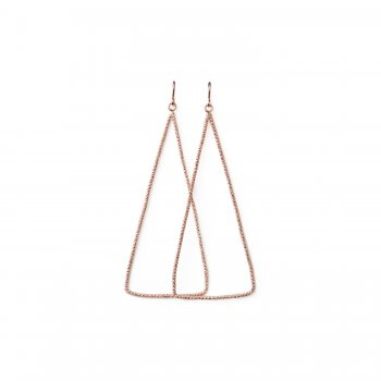 always beautiful sparkle triangle earrings, rose gold dipped