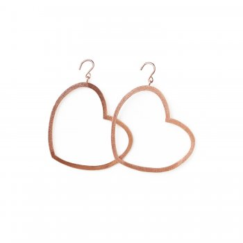 always beautiful heart earrings, rose gold dipped
