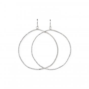 always beautiful sparkle hoop earrings, sterling silver