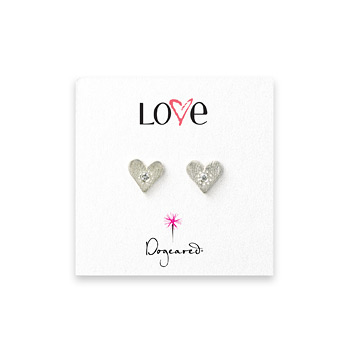 love heart diamond stud earrings, sterling silver
