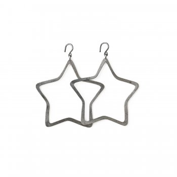 always beautiful star earrings, charcoal sterling