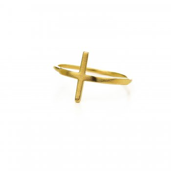 large cross ring, gold dipped, size 6
