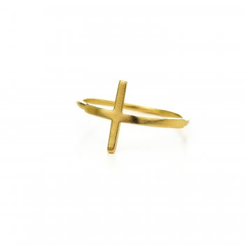 large cross ring, gold dipped, size 7