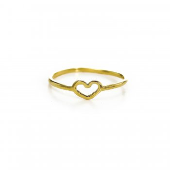 heart ring, gold dipped, size 8