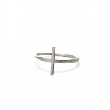 large cross ring, sterling silver, size 6