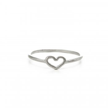 heart ring, sterling silver, size 6