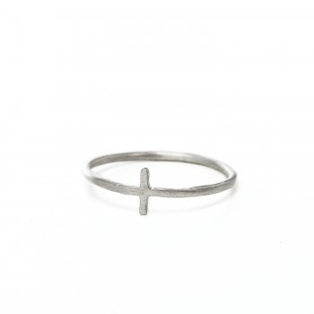 small cross ring, sterling silver, size 6