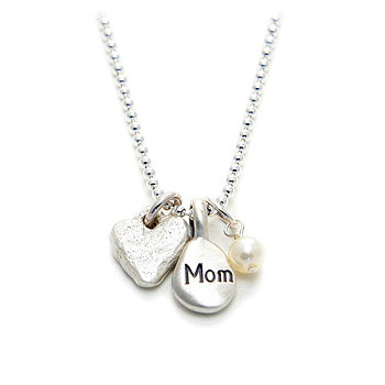 the meaning of mom necklace --- mom, mini stone heart and white pearl