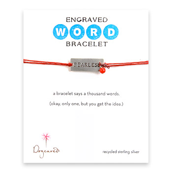 fearless engraved word bracelet